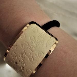 CHANEL Leather Hair Band or Bracelet Gold Black